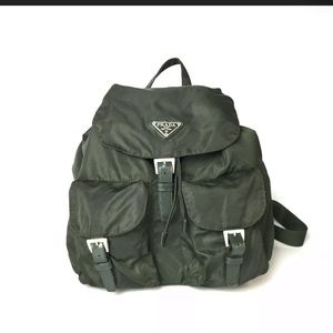 vintage green prada nylon backpack